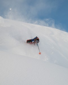Enjoying waist deep powder in the Selkirks!